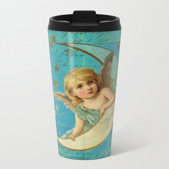 Vintage-Shabby-chic- Beautiful Christmas angel on aqua backround Metal Travel Mug