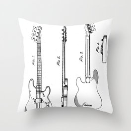 Bass Guitar Patent - Bass Guitarist Art - Black And White Throw Pillow