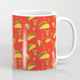 Tasty Tacos Chillies and Cactus Mexican Food Pattern on Red Coffee Mug