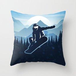 Royal Skiing - Attitude - Ski Snowboard Fly Skyline Throw Pillow