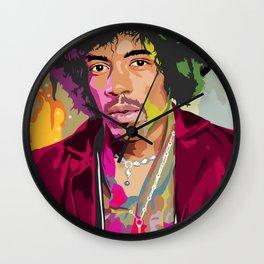 Jimi Hendrix Illustration Wall Clock