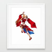 manga Framed Art Prints featuring Manga Hero by SpaceMonolith