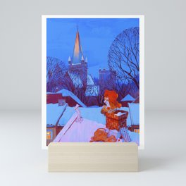 Christmas over Trondheim Mini Art Print