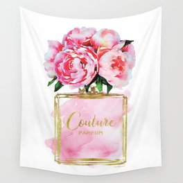 Perfume bottle with flowers, Peony, Peonies, Pink, gold, watercolor, Perfume, Pink, Gold ,Fashion Wall Tapestry