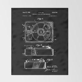 Turntable Patent - White on Black Throw Blanket