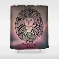 law Shower Curtains featuring Cecil's Law by MarjolynSpiritArt