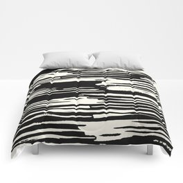Modern Tribal Stripe Ivory and Black Comforters