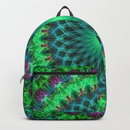 Glowing mandala in bright green and purple Backpack