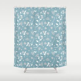 Pink and White Flowers on Blue Background Shower Curtain