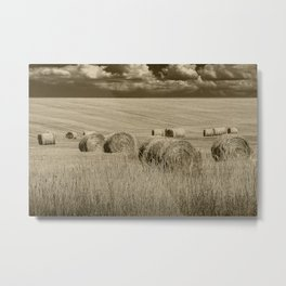 Sepia Toned Straw Hay Bales in a Summer Harvest Field Metal Print