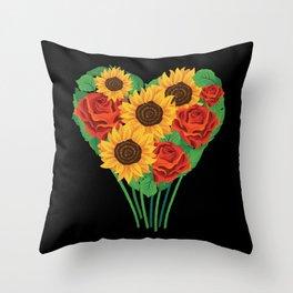 Valentine's Day Flower Bucket Heart Gift Idea Throw Pillow