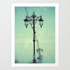 Textured Vintage Promenade Lamps Art Print