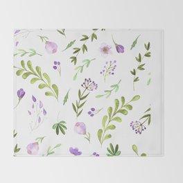 Purple Flower Field Throw Blanket