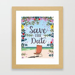 Save the Date Deck chair and beach Framed Art Print