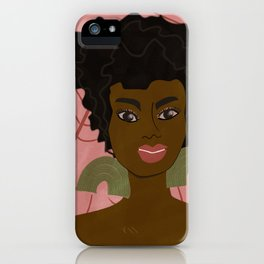 AsHaley on pink with winter leaves iPhone Case