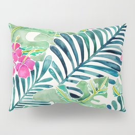 Lush Tropical Fronds & Hibiscus Pillow Sham