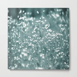 Tiny White Flowers Against Grey-Green Background #decor #society6 #buyart Metal Print