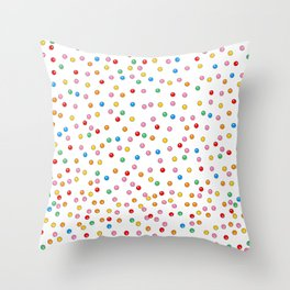 Rainbow Gumballs White Throw Pillow