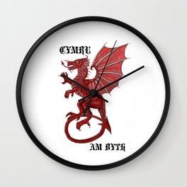 cymru am byth text Wall Clock