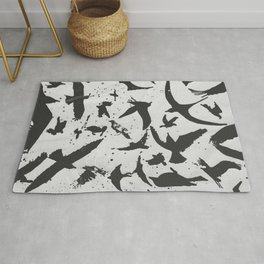 Birds in Flight. Black and white  Rug