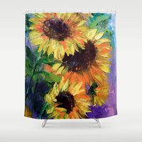 sunflowers Shower Curtains featuring Sunflowers by OLHADARCHUK    ART