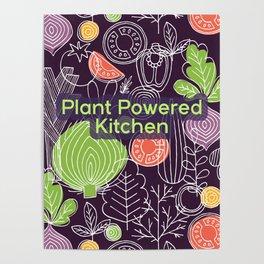 Plant Powered Kitchen Veggie Pattern Background Poster