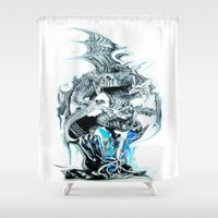 mother of dragons Shower Curtains featuring dragons by Vector Art