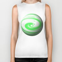 lime green Biker Tanks featuring Lime Green & Milky White Sphere by Moonshine Paradise