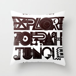 Explore The Typographic Jungle Throw Pillow
