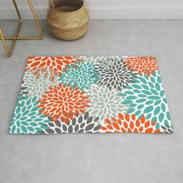 Floral Pattern, Abstract, Orange, Teal and Gray Rug