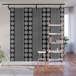 Geometric White on Black Vertical Stripes & Circles Wall Mural