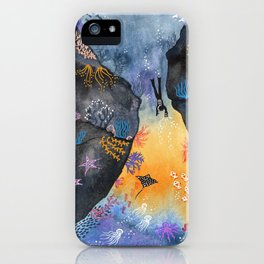 Journey of the deep sea dweller watercolor illustration iPhone Case