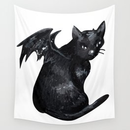 the black cat Wall Tapestry