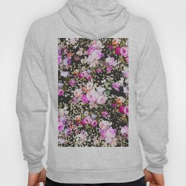 Elegant vintage bright pink floral faux gold confetti Hoody
