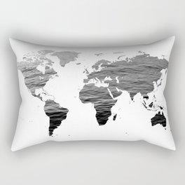 World Map - Ocean Texture - Black and White Rectangular Pillow