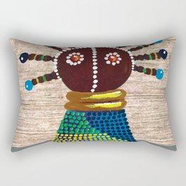 African kenyan doll in blue dress Rectangular Pillow