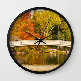 Bow Bridge at Central Park Wall Clock