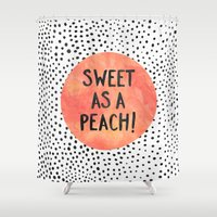 peach Shower Curtains featuring Sweet as a peach! by Elisabeth Fredriksson