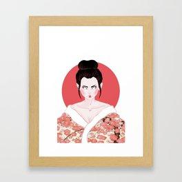 Pink Geisha Girl In White Framed Art Print