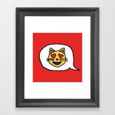 Emoji - Cat with Heart Eyes Framed Art Print