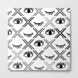 Original Black and White Eyes Design Metal Print