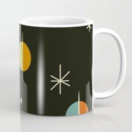 Mid Century Modern Abstract Spheres and Stars Dark Coffee Mug