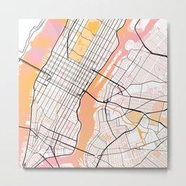 New York Street Map Color Metal Print