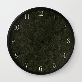 Green porous leather sheet texture abstract Wall Clock