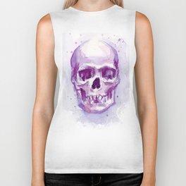 Skull Watercolor Purple Pink Skulls Biker Tank