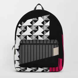 Patchwork black grey red Backpack
