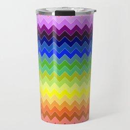 Bright Colourful Rainbow Zigzag Travel Mug
