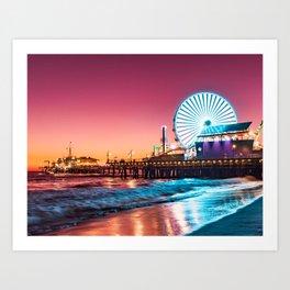 Santa Monica's Pacific Wheel Sunset (Pacific Park) Art Print
