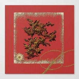 Golden flower on red Canvas Print