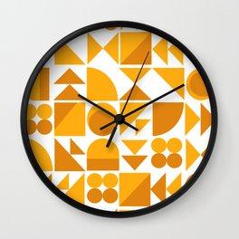 Mid Century Shape Art in Mustard Yellow Wall Clock